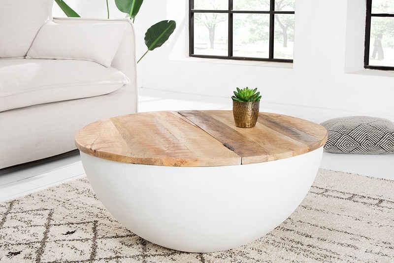 riess-ambiente Couchtisch »INDUSTRIAL STORAGE 70cm weiß / natur«, Wohnzimmer · Massivholz · rund · mit Fach · Metall