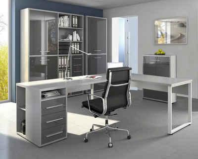 Maja Möbel Eckschreibtisch »Maja Set+ Set 3« (abschließbare Büroschränke, wechselseitig montierbarer Winkelschreibtisch), in verschiedenen Farbkombinationen
