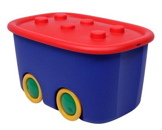 ONDIS24 Aufbewahrungsbox »Spielzeugaufbewahrungsbox Spielzeugkiste Aufbewahrungsbox Kinder Spielzeugbox Funny mit großen Rädern und aufliegendem Deckel, rot blau«, 46 liter