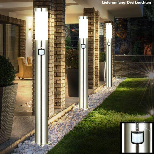 etc-shop LED Außen-Stehlampe, 3er Set Außen Bereich Steh Lampe Grundstück Stand Leuchte im Set inklusive LED Leuchtmittel