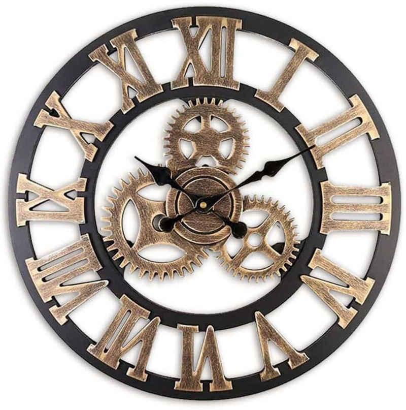 Wall-Art Wanduhr »MDF Holz Wanduhr Zahnrad Design Schwarz Gold Ø 40cm große Uhr mit Quartz Uhrwerk«