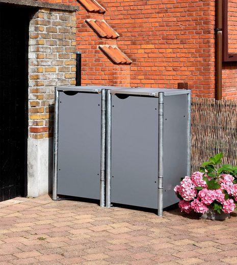 Hide Mülltonnenbox, für 2 x 120 l, grau