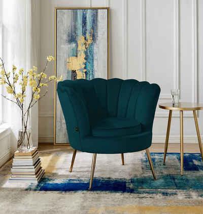 Leonique Loungesessel »Kelsey«, mit einem schönen weichen Samtvelours Bezug, edlem Metallgestell, Sitzhöhe 43,5 cm