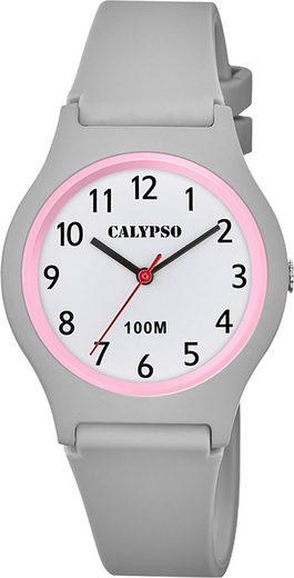 CALYPSO WATCHES Quarzuhr »UK5798/5 Calypso Jugend Uhr Analog Casual«, (Analoguhr), Jugend Armbanduhr rund, Kunststoffarmband grau, Casual