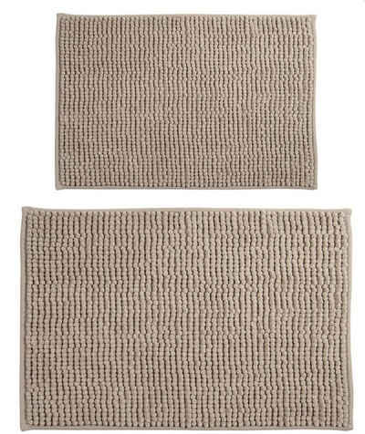 Badematte »CHENILLE«, MSV, Badteppich 2er Kombi-Set, bestehend aus 2 Größen 40x60 und 60x90 cm, 100% Polyester Microfaser, rutschhemmende Beschichtung, waschbar 30°, schnelltrocknend, viele angesagte Trendfarben, taupe beige