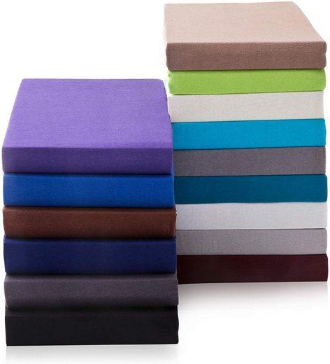 Spannbettlaken »Topper Spannbettlaken Spannbetttuch bis 10cm Steghöhe, Bettlaken ideal für Boxspringbett Topper, Premium-Jersey aus 100% reiner Baumwolle«, Hometex Premium Textiles