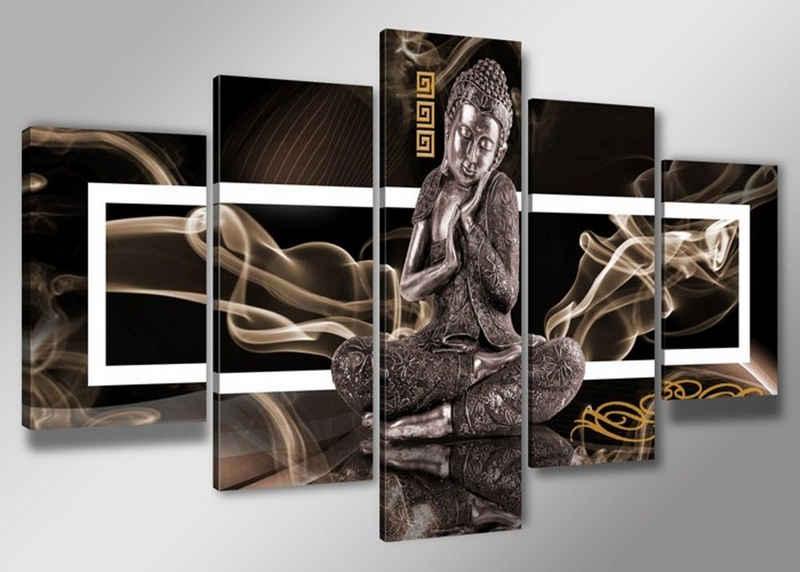 Visario Bild mit Rahmen »2 m x 1 m fünfteiliges Bilderset von Visario auf Leinwand fertig zum Aufhängen/gerahmt«, Buddha