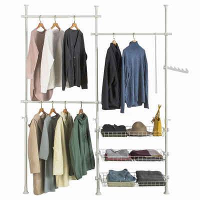 SoBuy Kleiderständer »FRG34«, Garderobenständer mit 3 Kleiderstangen und 3 Körben