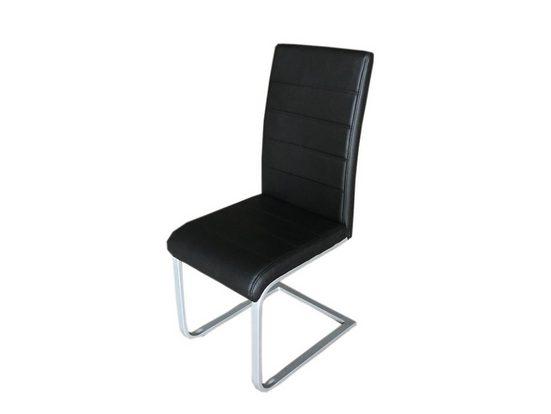 SAM® Freischwinger »Jan« Polsterstuhl mit Stoffbezug (schwarz)