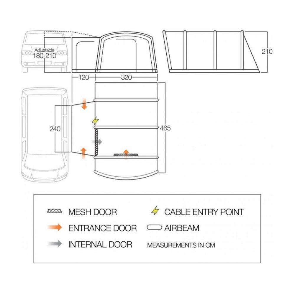 Vango Buszelt »Rhone Low«, Luftvorzelt mit einer Anschlusshöhe von 180 210 cm online kaufen | OTTO