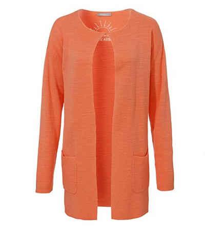 Passport Cardigan »passport Cardigan leichte Damen Strick-Jacke mit Hakenverschluss Jäckchen Orange«