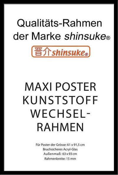 empireposter Rahmen »Posterrahmen Wechselrahmen Shinsuke® Maxi-Poster Profil: 15mm Kunststoff 61x91,5cm«, Farbe schwarz mit Acryl-Scheibe
