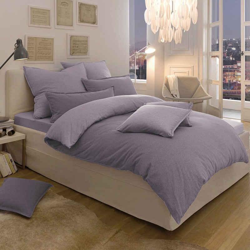 Wendebettwäsche »Melange Uni«, Schlafgut, passend zu Spannbettlaken und Kissenbezug