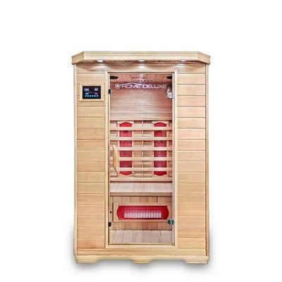 HOME DELUXE Infrarotkabine »Redsun M«, Keramikstrahler, Hemlocktanne, Maße: 120 x 105 x 190 cm, Infrarotsauna für 2 Personen, Sauna, Infrarot, Kabine