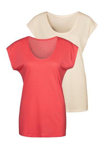 Beachtime T-Shirt (2er-Pack) mit feinen Streifen