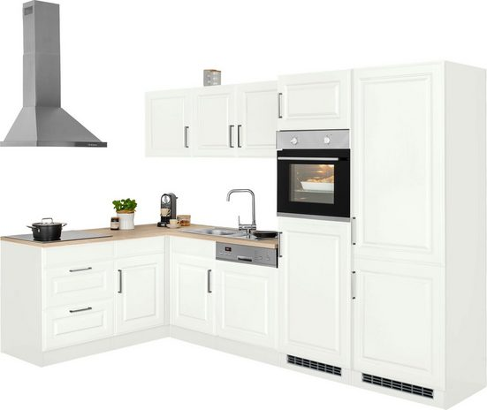 HELD MÖBEL Winkelküche »Stockholm«, mit E-Geräten, Stellbreite 290/170 cm, mit hochwertigen MDF Fronten im Landhaus-Stil