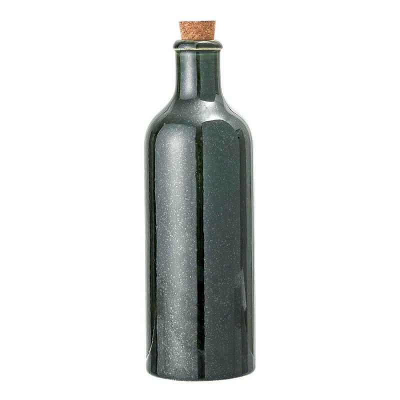 Bloomingville Wasserkrug »Joëlle Bottle w/Lid, Green, Stoneware«, 650 ml, Keramik und Kork, Flasche mit Kork-Deckel, Gedeckter Tisch, Trinkflasche, Tischdeko, grün