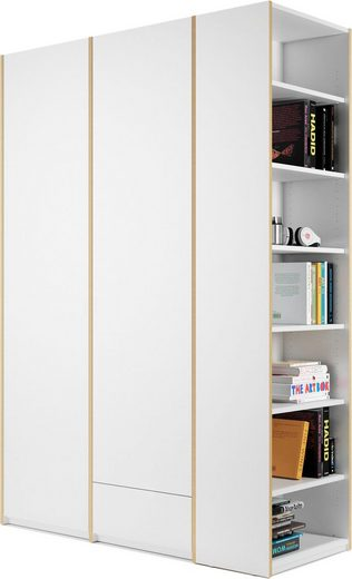 Müller SMALL LIVING Kleiderschrank »Modular Plus Variante 2« inklusive 1 kleinen Schublade im rechten Schrankteil, Anbauregal wahlweise links oder rechts montierbar
