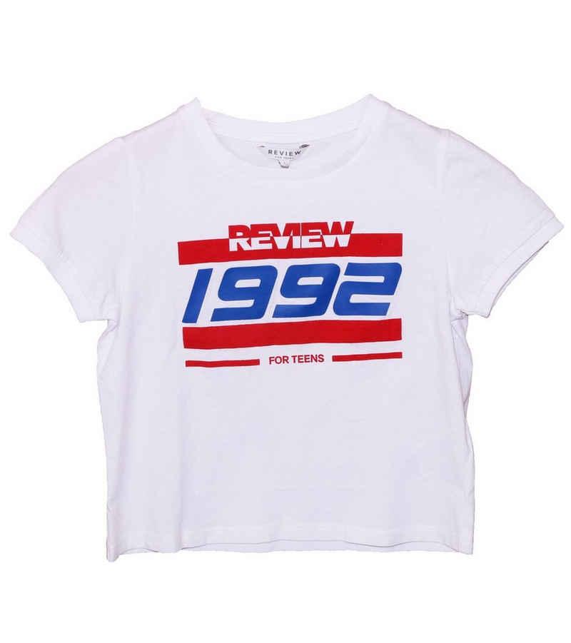 REVIEW Shirttop »REVIEW FOR TEENS T-Shirt lässiges Kurzarm-Shirt für Kinder mit Print Retro-Shirt Weiß«