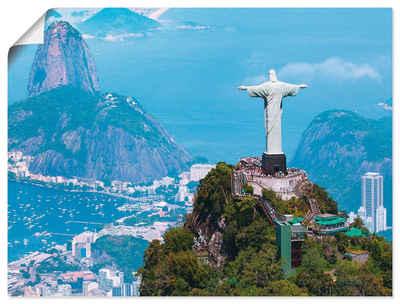 Artland Wandbild »Rio de Janeiro mit Cristo«, Gebäude (1 Stück), in vielen Größen & Produktarten - Alubild / Outdoorbild für den Außenbereich, Leinwandbild, Poster, Wandaufkleber / Wandtattoo auch für Badezimmer geeignet