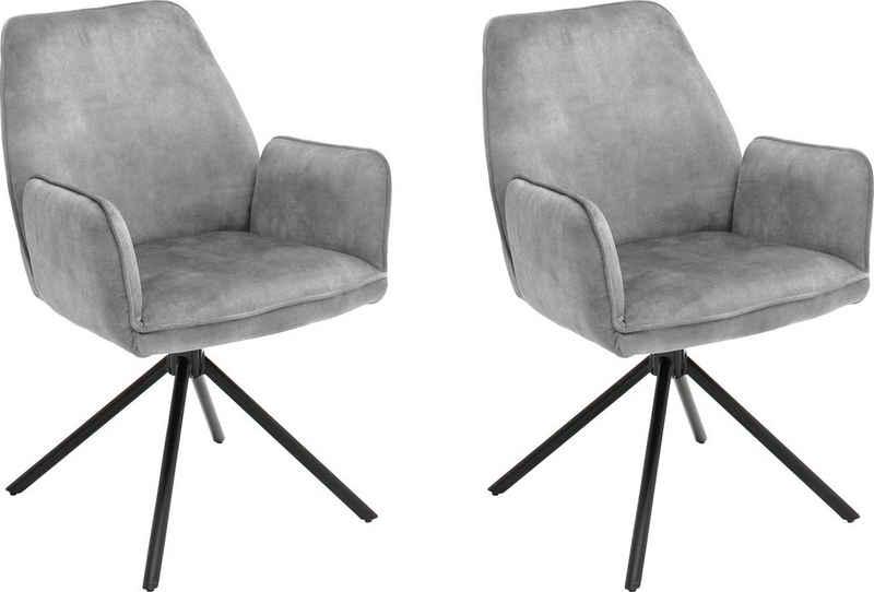 MCA furniture Esszimmerstuhl »Ottawa mit Armlehne« (Set, 2 Stück), Vintage Veloursoptik mit Keder, Stuhl belastbar bis 120 Kg