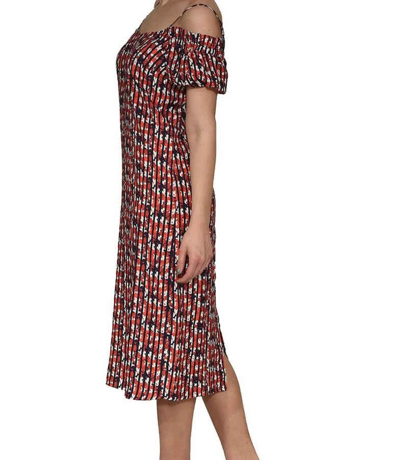 Mexx Sommerkleid »MEXX Jersey-Kleid blumiges Damen Midi-Kleid mit Carmen-Ausschnitt Spaghettiträger-Kleid Rot«