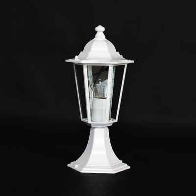Licht-Erlebnisse Sockelleuchte »VELENCE«, Wegeleuchte Weiß Alu Glas Terrasse Hof Sockellampe Lampe