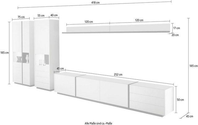 Wohnwände - Wohnwand »CAiO«, (Set, 5 tlg), Breite ca. 418 cm  - Onlineshop OTTO