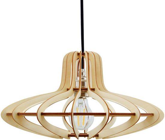 WODEWA Set: Pendelleuchte »Holzlampe Medusa«, Natur, LED, 1-flammig