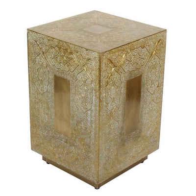 Casa Moro Hocker »Marokkanischer Hocker Dakhla 30x30x47 (B/T/H) Gold Weiß aus Echt-Holz, Orientalischer Beistelltisch komplett mit Messing verkleidet im Vintage Look, Kunsthandwerk aus Marrakesch, HK3038«, Handmade