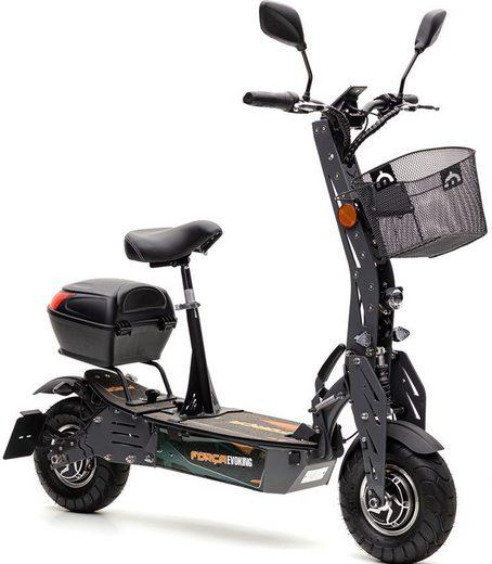 Forca E-Scooter »Evoking 20 km/h Safety Plus (inkl. Blinker + Gepäck-Case + Lithium-Akku)«, 600 W, 20 km/h