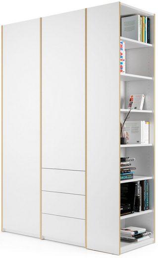 Müller SMALL LIVING Kleiderschrank »Modular Plus Variante 2« inklusive 3 kleinen Schubladen im rechten Schrankteil, Anbauregal wahlweise links oder rechts montierbar