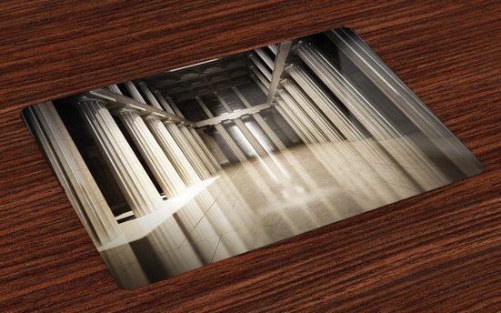 Tischdecke, »Waschbare Stoff Esszimmer Küche Tischdekorations Digitaldruck«, Abakuhaus, (4-teilig, 4 Teilig-St., Set aus 4x), Digital 3D-Modell-Art-Säule