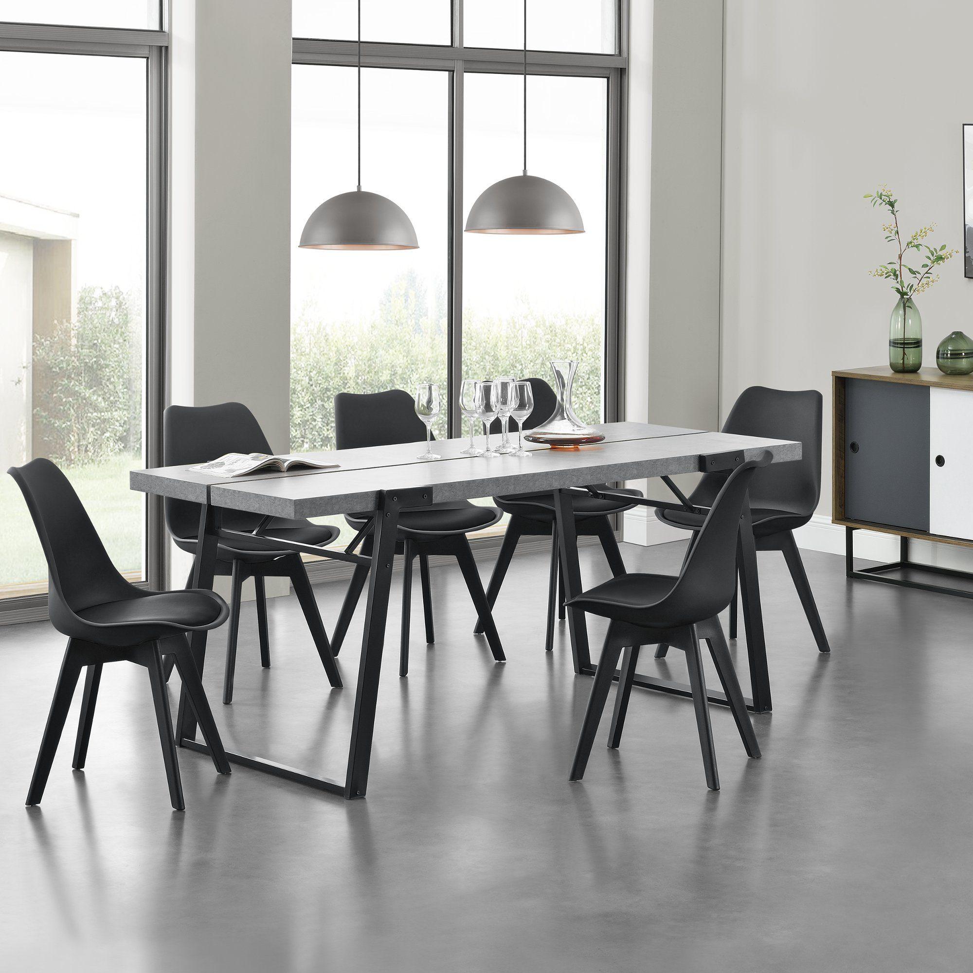 en.casa Esstisch, »Hessen« MDF, furniert 180x80x77cm Beton Optik online kaufen | OTTO