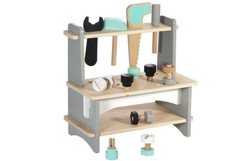 Kindsgut Kinder-Werkzeug-Set »Werkbank«, (13-tlg), Motorik, Holz-Spielzeug für Kinder zum Bauen und Schrauben, für Mädchen und Jungen, umweltfreundlich