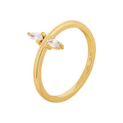 CAÏ Silberring »925 Silber vergoldet mit Zirkonia«, Glänzend