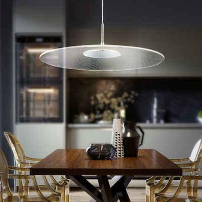 WOFI Pendelleuchte, Hängeleuchte LED Pendelleuchte Höhenverstellbar Hängeleuchte chrom mit rundem Schirm, ALU, 1x LED 15 Watt 1500 Lumen warmweiß, DxH 49x150 cm