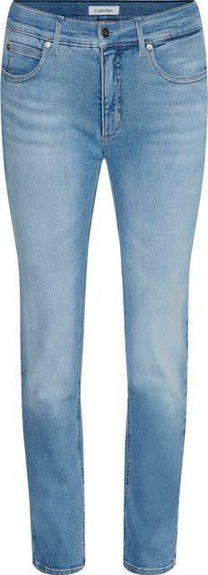 Hosen - Calvin Klein Slim fit Jeans »MID RISE SLIM ANKLE« mit leichten Faded Out Effekten Calvin Klein Logo Badge › blau  - Onlineshop OTTO
