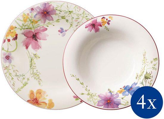 Villeroy & Boch Tafelservice »Mariefleur Basic« (8-tlg), Porzellan, verspieltes Blumendekor