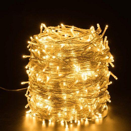 Quntis LED-Lichterkette, 500-flammig, Lichterkette Außen Warmweiß Weihnachtsbeleuchtung 8 verschiedene Leuchtmodi & Memoryfunktion Weihnachtsdeko für Innen Außen Hochzeit Neujahr Weihnachtsbaum Geburtstag Feiertag Party Hotel Garten
