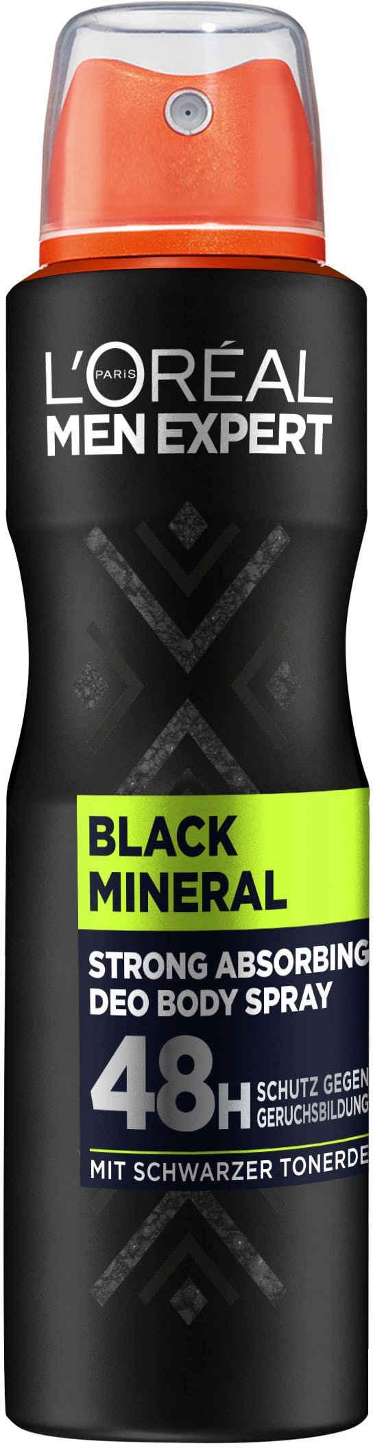 L'ORÉAL PARIS MEN EXPERT Deo-Spray »Black Mineral«, absorbierender Schutz gegen Gerüche, ohne Aluminium
