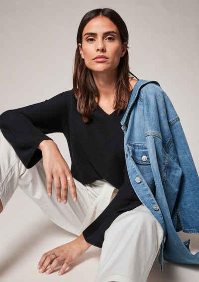comma casual identity Langarmshirt »Pullover mit V-Neck« (1-tlg)