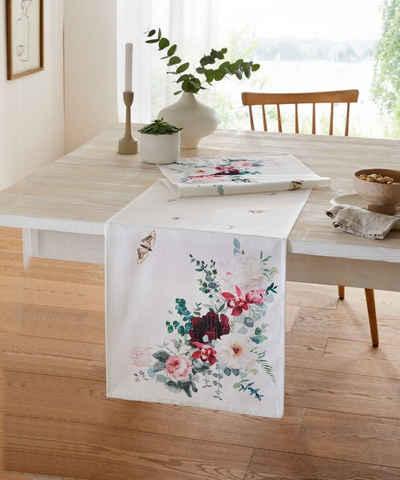 Home-trends24.de Tischläufer »Tischläufer Tischdecke Blumen Blüten Tischdeko Deko Tischband«