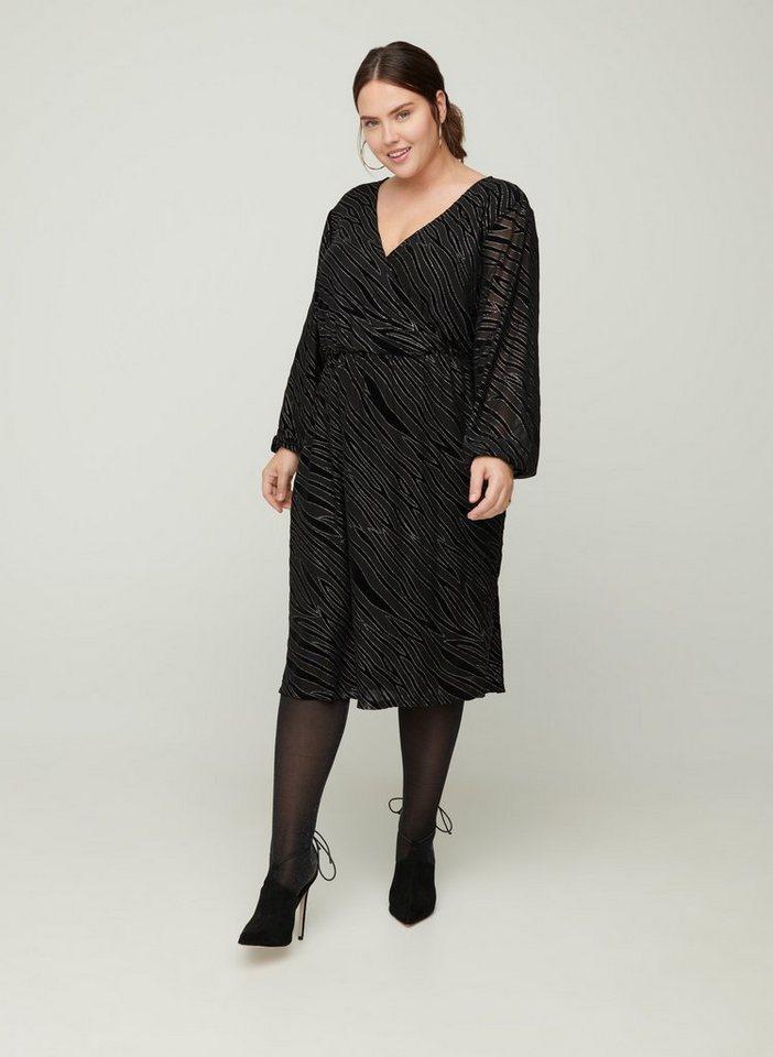Zizzi Partykleid Große Größen Damen Langarm Kleid mit ...