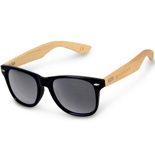 Navaris Sonnenbrille UV400 Unisex Damen und Herren Brille mit Bambus Bügeln - Holzbrille mit Etui