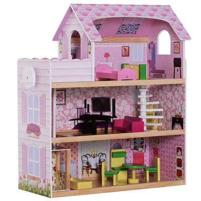 HOMCOM Puppenhaus »Kinder Puppenhaus mit Möbeln«