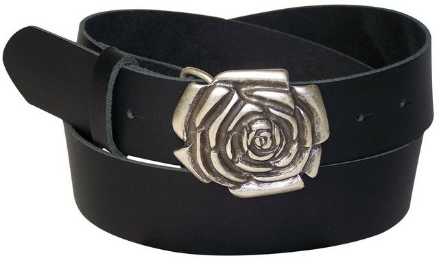 FRONHOFER Koppelgürtel »18090« Damengürtel mit Rosenblüte Gürtelschnalle, silber, 4 cm Ledergürtel | Accessoires > Gürtel > Koppelgürtel | FRONHOFER