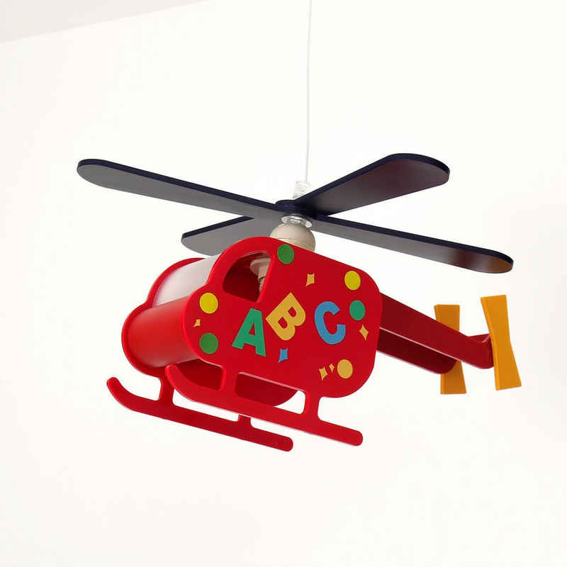 Licht-Erlebnisse Pendelleuchte »KINDER«, Kinderleuchte Helikopter Bunt Rot Jungen und Mädchen Lampe