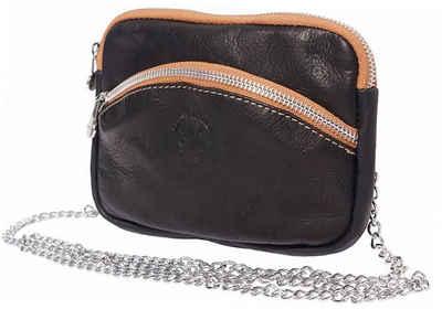 FLORENCE Abendtasche »D2OTF115S Florence Echtleder Tasche mit Kette«, Damen, Jugend Tasche aus Echtleder in schwarz, braun, Made-In Italy