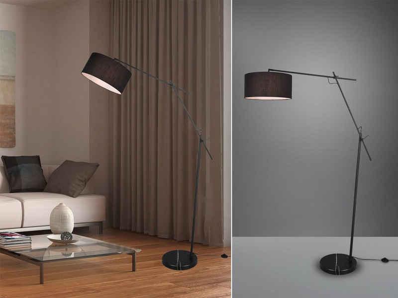 meineWunschleuchte LED Stehlampe, Designer Bauhaus Lampe, Lampenschirm-e Stoff, Schwarz, Große Steh-Leuchte, mit Fußschalter